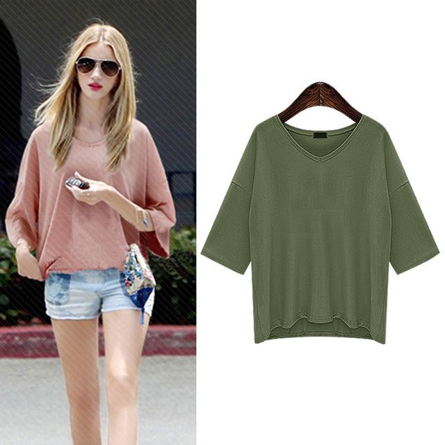 Summer Womens Cotton Modal Blouse Half Sleeve V-Neck Blouse Large Size 6XL Female Blouse