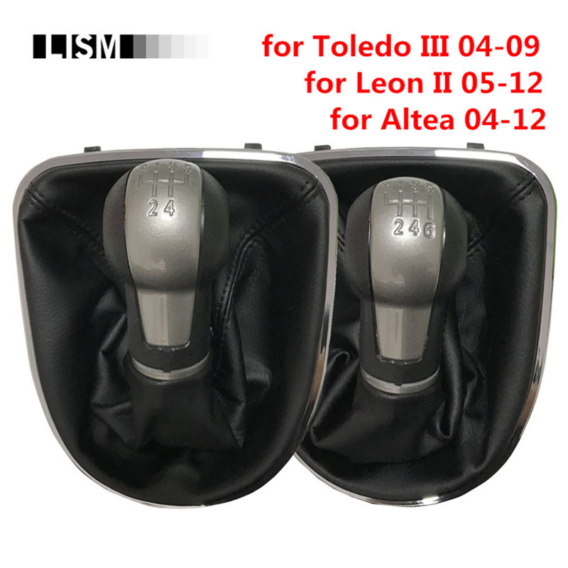 5/6 Speed MT Gear Shift Knob Gearshift Head Ball Shifter + Gaiter Boot Cover + Frame Base for Seat Altea Leon II 2 Toledo III 3 gear shift