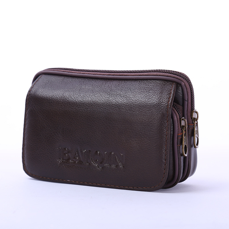 BISI GORO Fashion Cow Leather Multi-function Outdoor Porta Tarjetas Heuptas Heren Creative Gift Purse Phone Coin Card Waist Bag