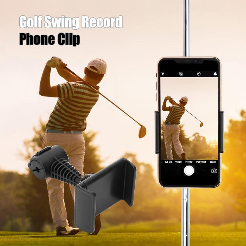 Golf Swing Record Phone Holder Cell Phone Clip Stand Bracket Support For Alignment Stick 360 Degree Rotatable ABS Drop Ship