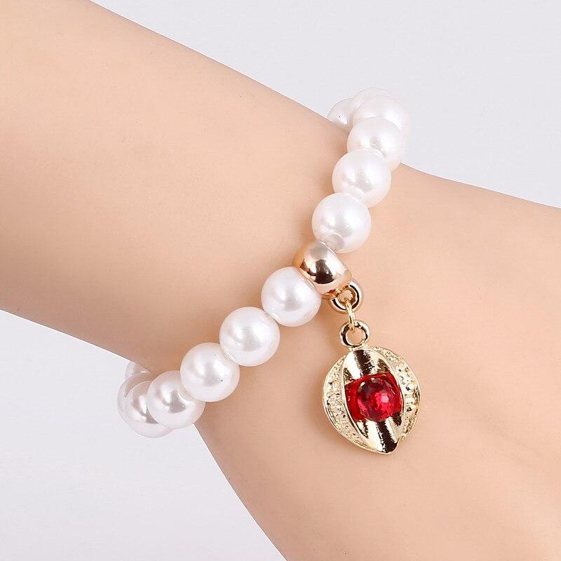 Mujeres al por mayor pulseras cadena perla simulada aleación cristal ...