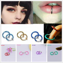 2 Pcs Clip on Body Jewelry Nose Lip Ear Fake Piercing Rings Stud Punk Goth False Hoop Earrings Septum Gift(China)