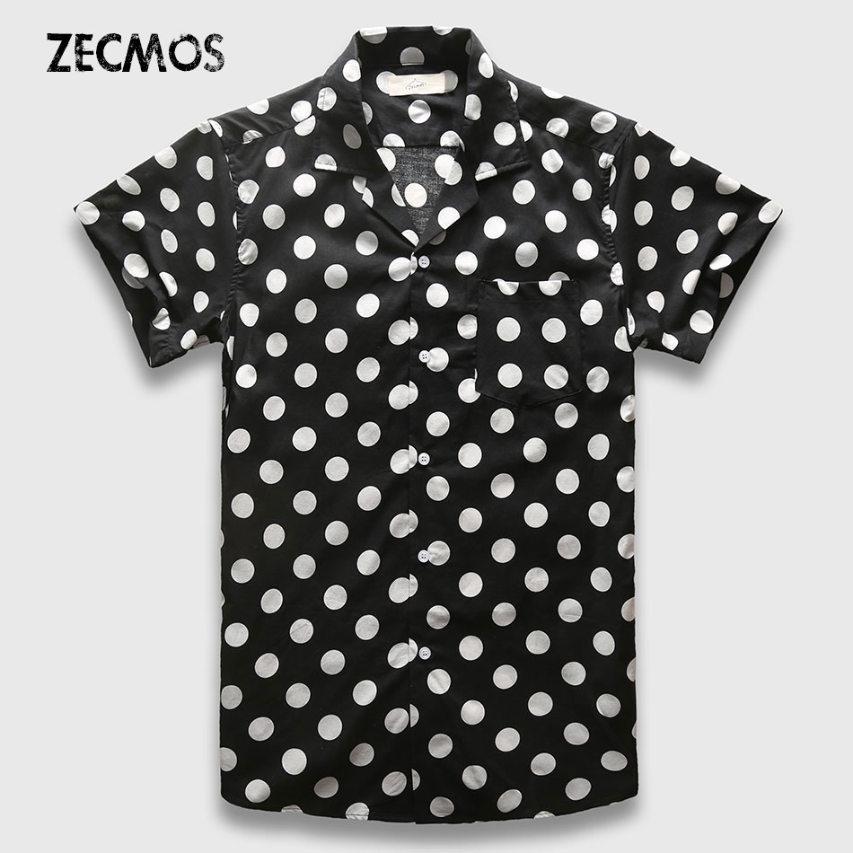 Zecmos men short sleeve shirt black and white polka dot for Mens polka dot shirt short sleeve