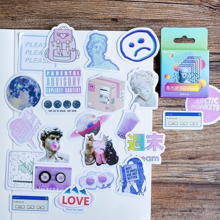 46PCS/box New Cute Vaporwave Diary Paper Lable Sealing Stickers Crafts And Scrapbooking Decorative Lifelog DIY Stationery