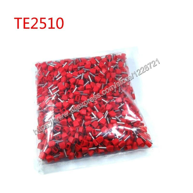 1000 шт./упак. TE2510 2X14 AWG Твин & Двойной Ввод Проводов и Обжимные Для 2 Х 2.5mm2, 10.0 мм из Pin Длина