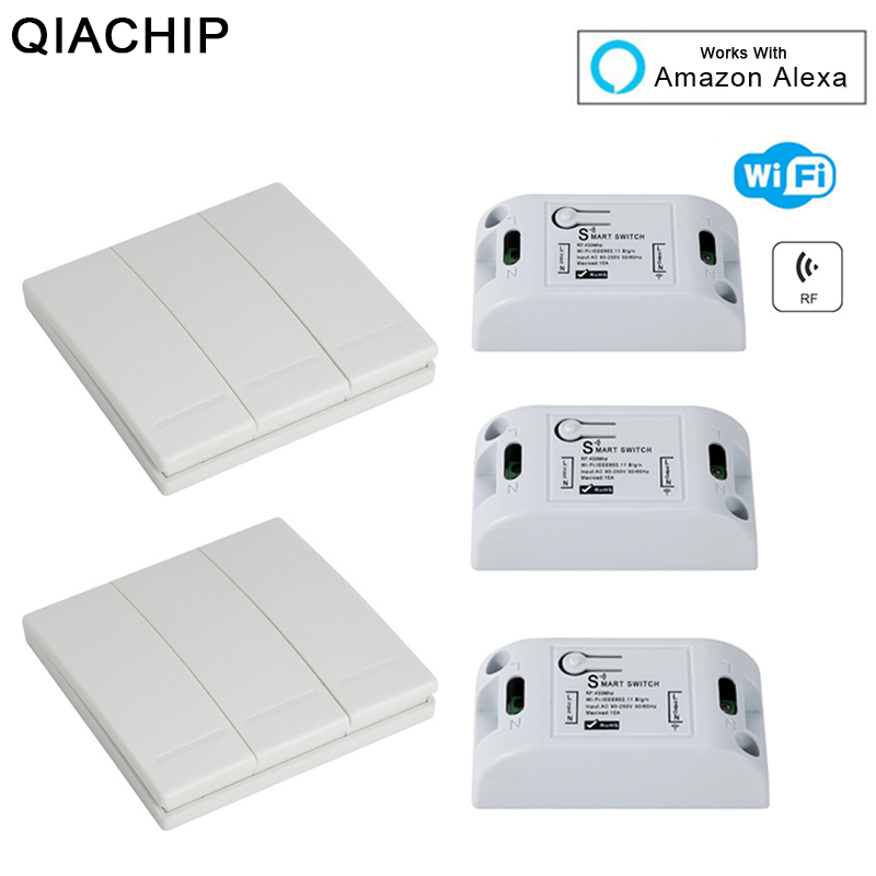 QIACHIP WiFi interruptor inalámbrico de relé de Control remoto para casa inteligente automatización Universal luces interruptores trabaja con Amazon Alexa