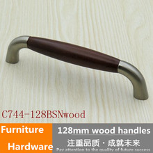 10pcs / lot  128mm American style wooden furniture handles 5″ stain silver brushed nickel kitchen cabinet  dresser handle