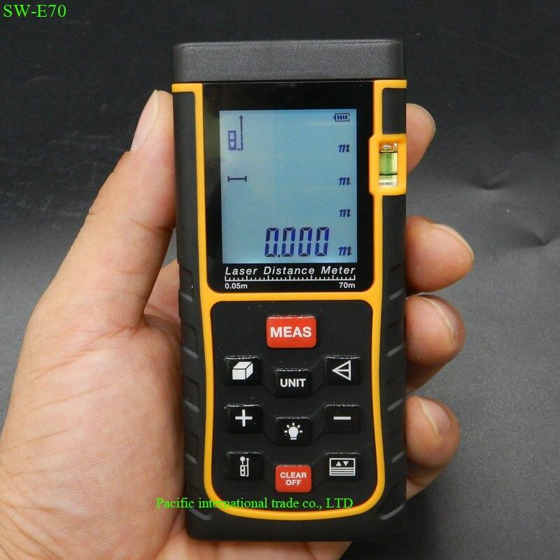 ФОТО Digital  Laser rangefinder Laser distance meter 70m 229ft trena laser rangefinder SW-E70 Tape measure Area-Volume test tool