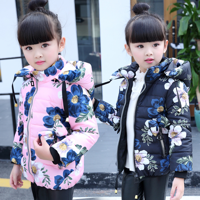 child wadded outerwear children thickening cotton-padded jacket fashion floral print fashion girls winter coat