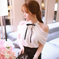 Korean Summer Women's Bow Chiffon Shirt Sweet Wind Chiffon Blouse Strapless Shirt Blouse With Bow Off Shoulder Elegant Lady