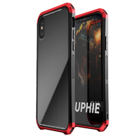 Luphie For IphoneX Case Toughend Glass Back Aluminum Metal Frame Case Cover For IPhone X 2in1