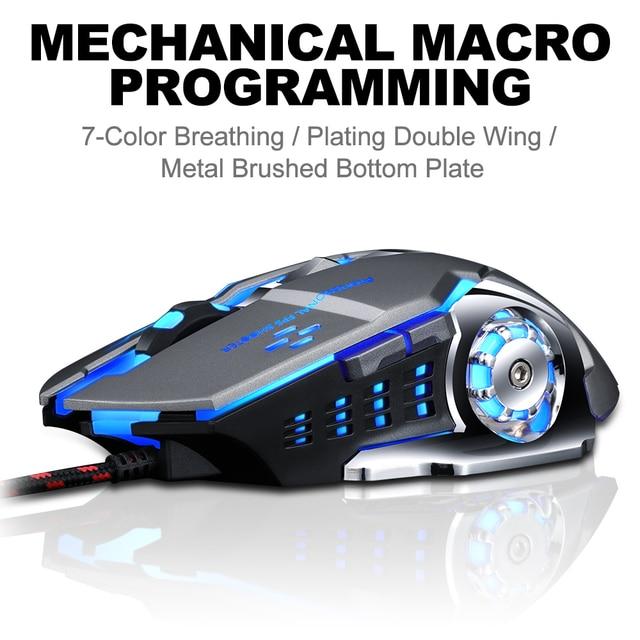 Pro gamer gaming mouse 8d 3200dpi ajustável, com fio óptico, led computador, ratos, usb cabo silencioso, mouse para computador portátil 2