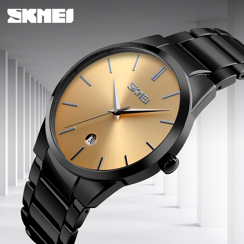 Simple Quartz Watch Man Business Full Steel Strap Casual Men Watch Gold Slim 2017 Luxury Brand Fashion SKMEI Date Wristwatch цены