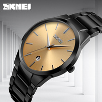 Simple Quartz Watch Man Business Full Steel Strap Casual Men Watch Gold Slim 2017 Luxury Brand Fashion SKMEI Date Wristwatch