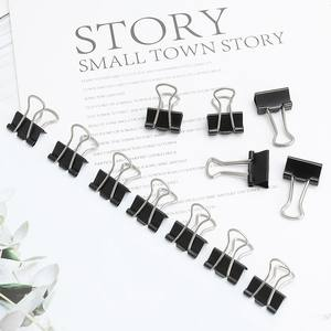 Paper Clip-Product Binder-Clips Notes Office-Supplies Metal Black 15mm 12pcs/Lot Letter