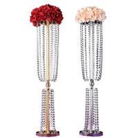 Gold Wedding Road Lead 80 CM Tall 22 CM Diameter Acrylic Crystal Pillar Table Flower Rack Wedding Centerpiece Party Decor SN361