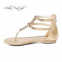 874756e858bd7 Arden Furtado 2018 summer flat fashion sandals T-strap rhinestone flowers crystal  gladiator shoes ladies