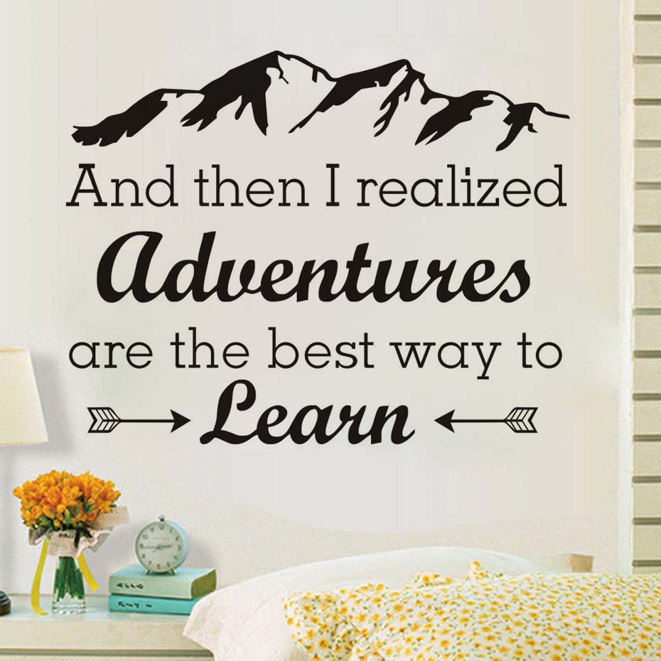 Adventure Are The Best Way To Learn Vinyl Wall Sticker Arrows Mountains Removable Self Adhesive Wallpaper Wall Art Decals image