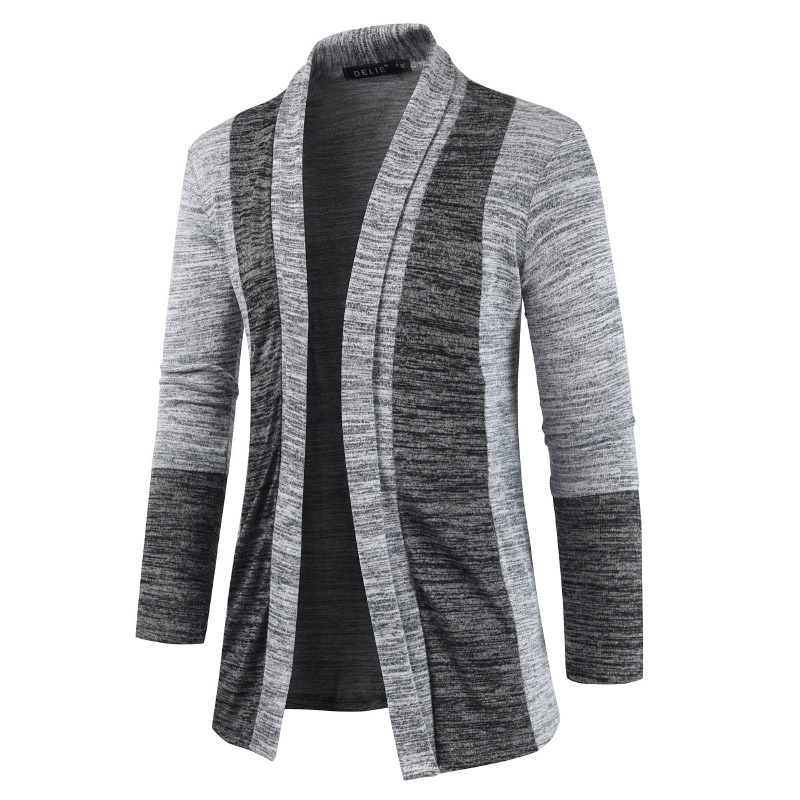 Hot Casual Long Sleeve Knitted Cardigan Sweater Men's Solid Color Coat Slim Fit Outwear Drop Shipping