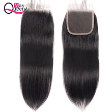 Peruvian Hair Closure Straight 4*4 Lace Closure 100% Human Hair Natural Color Remy Hair Weaving 1PC/Lot Free Shipping(China)