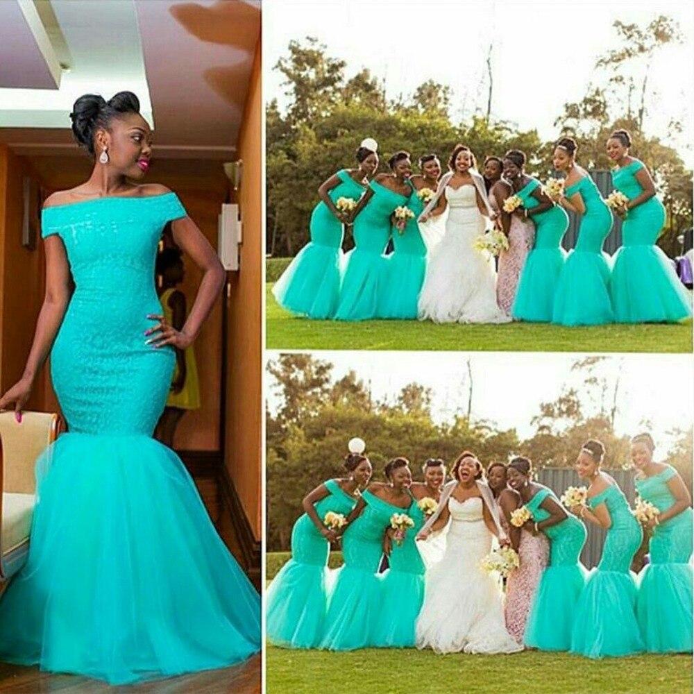 Aqua blue and black bridesmaid dresses