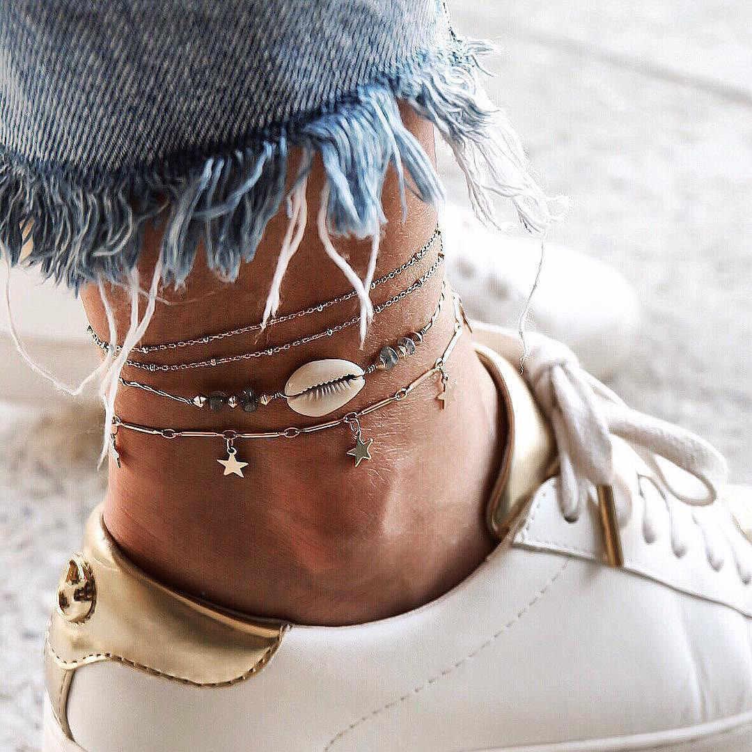 シェルヒトデペンダント女性新しい石ビーズシェルアンクレットボヘミアンブレスレット脚自由奔放に生きるオーシャン宝石ドロップ無料