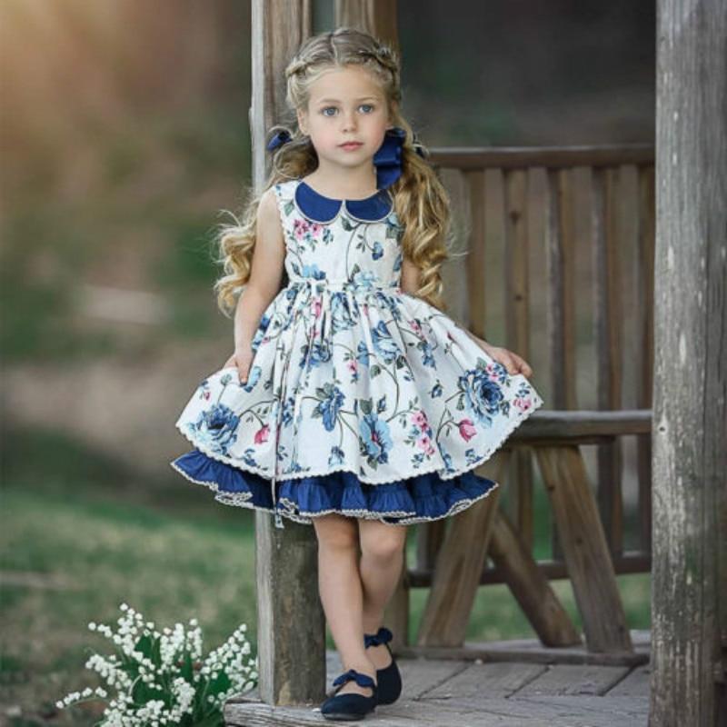 Bastante niños bebé niña princesa vestido Casual sin mangas solapa fiesta de cumpleaños vestido bebé niña vestido de fiesta vestido de princesa