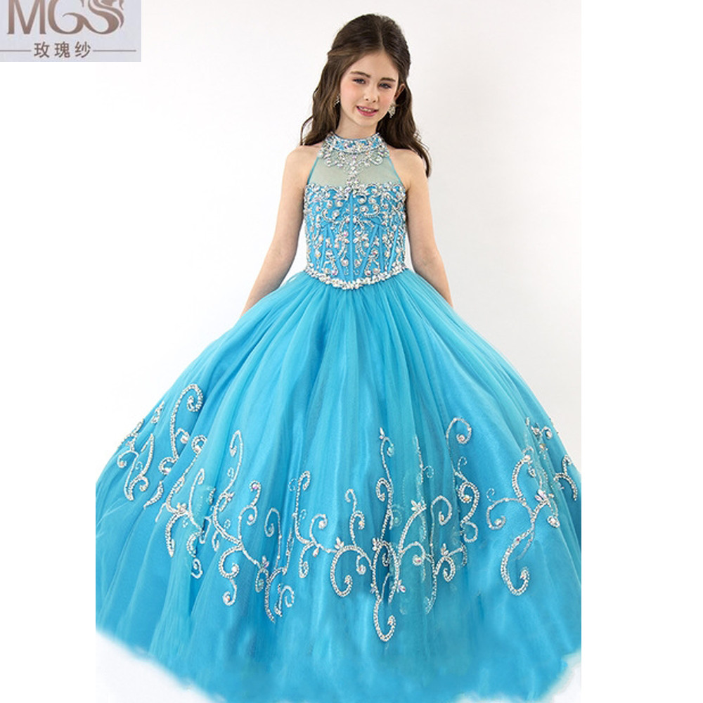 2016 Turquoise Mgs Ball Gown High Neck Flower Girl