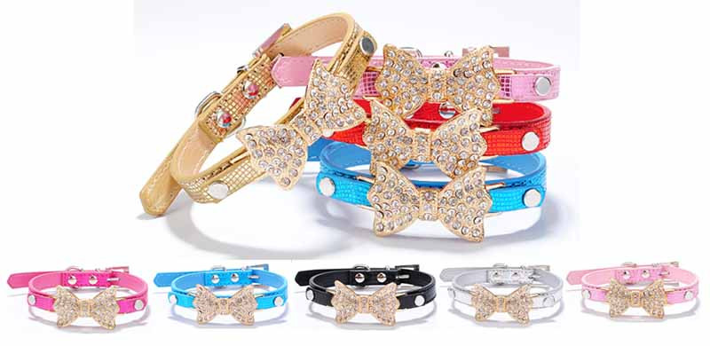SYDZSW PU Leather Dog Collars & Leads Puppy Pet Leash Luxury Pet Products Diamond Bow Tie Chihuahua Collar Necklace for Cats Dogs1