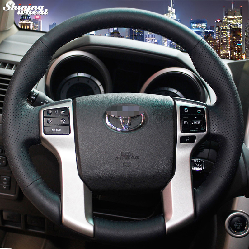 Shining wheat Hand-stitched Black Leather Steering Wheel Cover for Toyota Land Cruiser Prado 2010-2014 Tundra Tacoma 4Runner