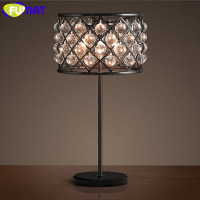 FUMAT Vintage Crystal Table Lamp Iron Table Light Desk Lamp LED Light Bedside Lamp for Living Room Bedroom Study Free Shipping