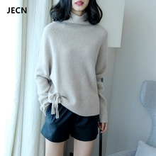 JECH Autumn Winter New High Collar Women Cashmere Sweater Loose large size Fashion Solid pullovers High-Quality Wool Sweaters цена и фото