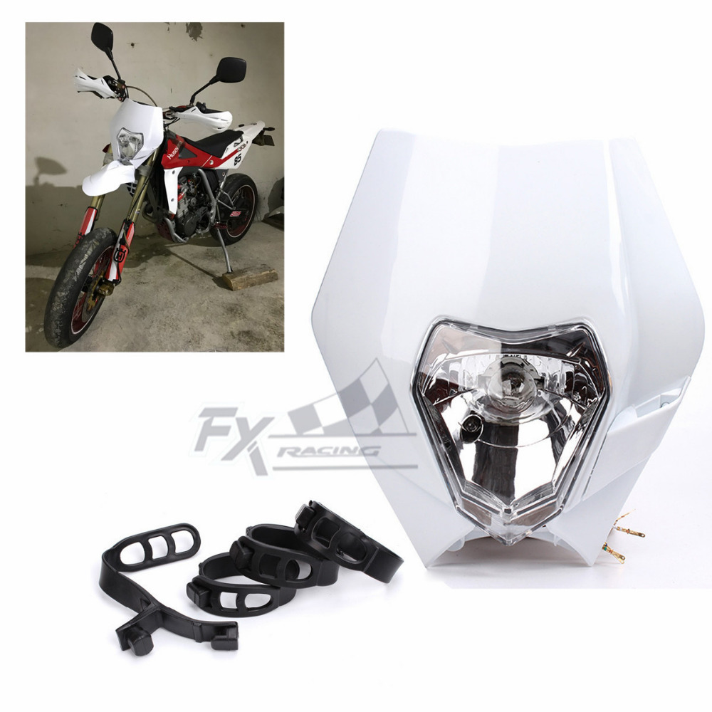 12V <font><b>Universal</b></font> Motorcycle Fairing <font><b>Headlight</b></font> <font><b>Dirt</b></font> Pit <font><b>Bike</b></font> Motocross Supermoto for KTM SX EXC EXC-F SX-F Black Silver Orange image