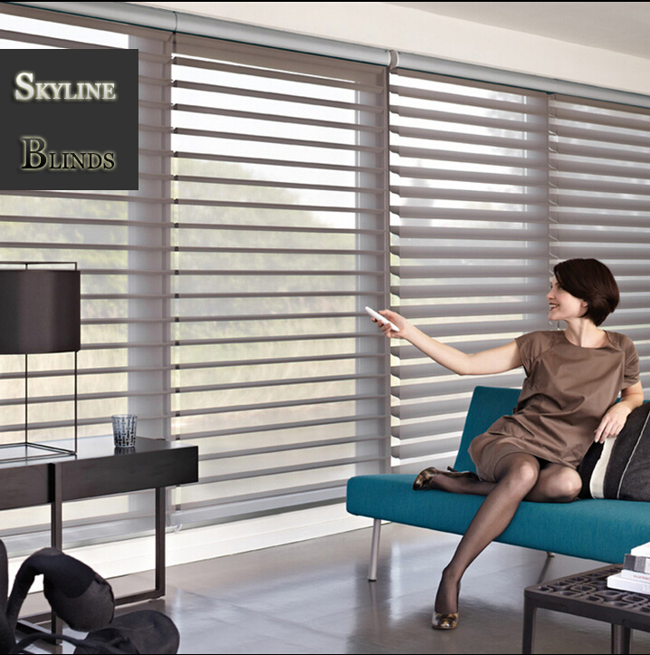 Livraison gratuite Design de mode nouveaux stores shangri-la motorisés avec maison intelligente Alex ou Google Home
