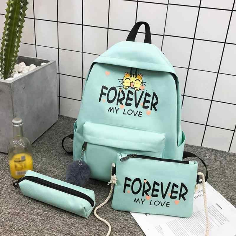 3 sztuk/zestaw płótno kot list plecaki z nadrukiem torby na długopisy kobiet dorywczo crossbody na ramię torby kompozytowe plecak torba listonoszka sprzęgła