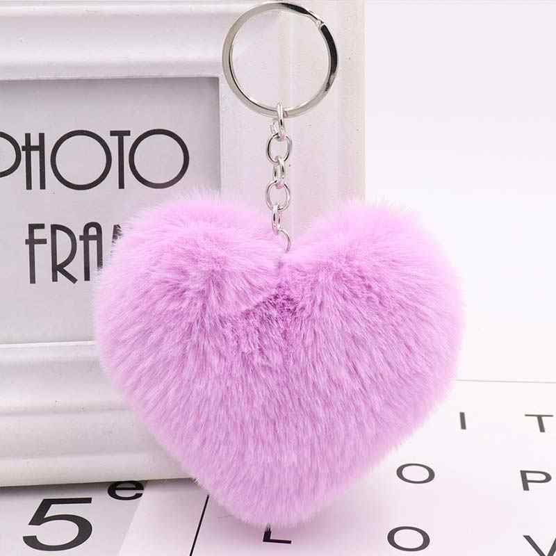 Gorąca sprzedaż śliczny samochód klucz pierścień 10CM damskie 1PC breloki puszyste biżuteria w kształcie serca akcesoria Faux futra królika dla torba breloczki