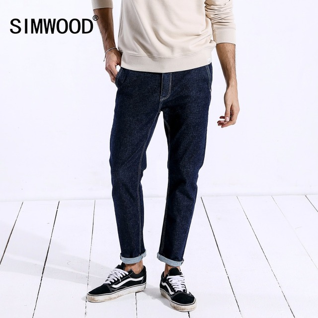 SIMWOOD New 2018 Autumn Men Jeans Male Fashion Casual Zipper Slim Brand Denim Pants Man Trousers Plus Size Free Shipping 180328