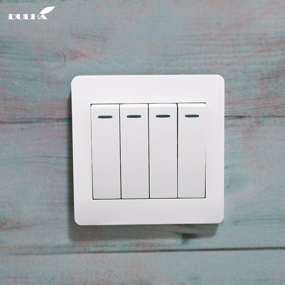 <font><b>4</b></font> <font><b>Gang</b></font> 1 Way 10A Light Wall <font><b>Switch</b></font> 110~250V 220V Electrical Push Button White PC Frame Panel Lamp <font><b>Switches</b></font> Factory Direct Sale image