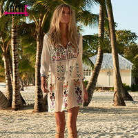 Jastie Vintage Floral Embroidered Bohemian Dress 2017 Women Summer Dress Sexy Tassel O Neck Mini Beach