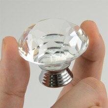 10pcs 40mm diamond crystal glass door knobs drawer cabinet kitchen pull handles