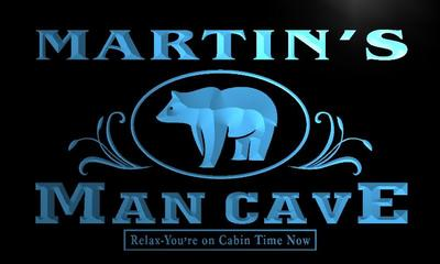x0085-tm Martins Man Cave Bear Custom Personalized Name Neon Sign Wholesale Dropshipping On/Off Switch 7 Colors DHL