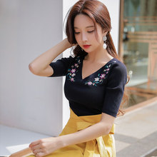 Dabuwawa Spring V-Neck Embroidery Knitted Sweaters for Women GIrls 2019 New Half Sleeve Slim fashion Pullovers Top  DN1ATS003
