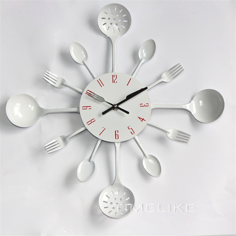 16 pouce Grande Taille Haute Qualité De Cuisine En Métal Horloge Murale Fourchette Cuillère Cuisine Horloge Murale Cadeau Spécial
