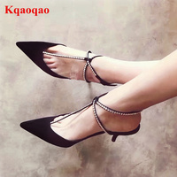 New Arrival 2018 Shoes Woman Crystal Embellished Spring Summer Chic Heels Slingback Glitter Sapato Feminino Girl Women Shoes