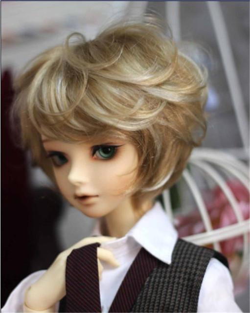 1/4  BJD wigs SD Smooth Cut  doll wigs 7-8inch synthetic mohair toy wig Lati Blue doll accessories