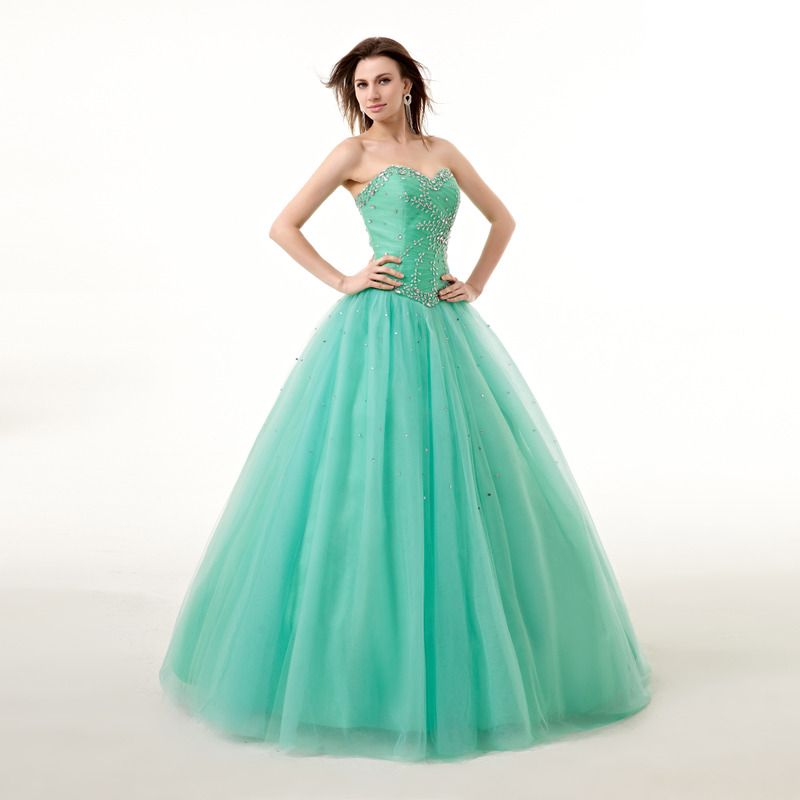 GSBRIDAL Strapless Sweetheart Ball Gown Beads Quinceanera Dresses