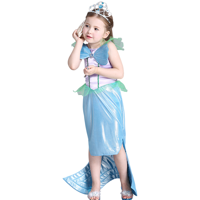 summer girls dress little mermaid fancy tail princess dress ariel cosplay  Halloween Christmas girl costume kids party clothes 91168289d179