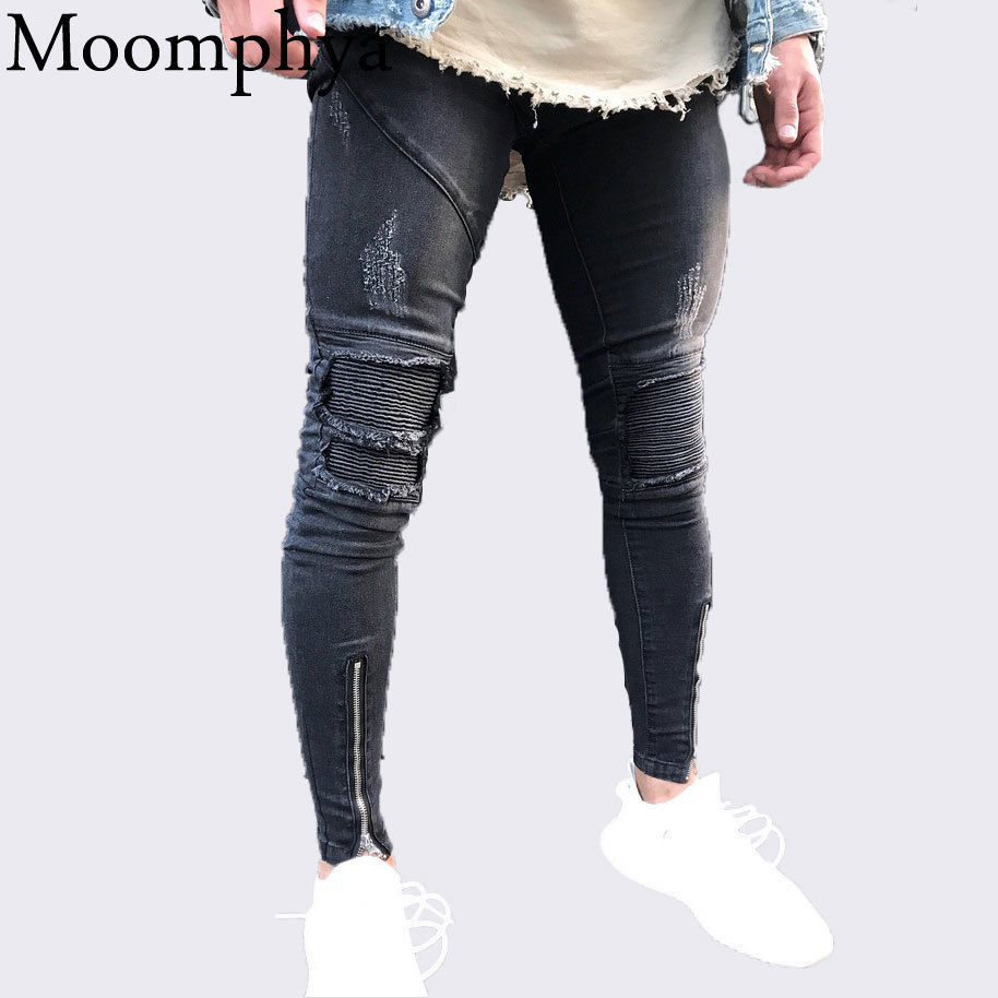 Moomphya 2018 New Men Sim Fit Skinny Jeans Distressed Ripped Holes Pleated Patchwork Jeans Zippers Biker Black Jeans Hip Hop