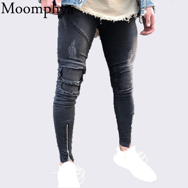 a66dfc6f Moomphya 2018 New Men Sim Fit Skinny jeans Distressed Ripped Holes Pleated  patchwork jeans Zippers biker black jeans hip hop