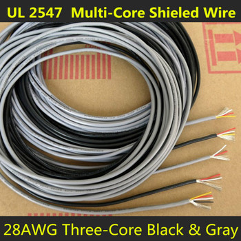 28AWG 3Cores Multicores Shielded Wires Tinned Copper Controlled Cable Headphone UL2547 Black & Gray color 1/5/20/50 Meters image